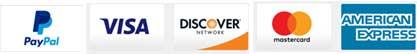PayPal, Visa, Discover, Mastercard, and American Express logos